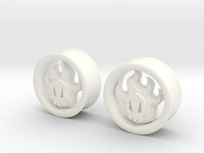 1 Inch Flame Skull Plugs in White Strong & Flexible Polished