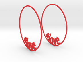 Hashtag Love Hoop Earrings 60mm in Red Strong & Flexible Polished
