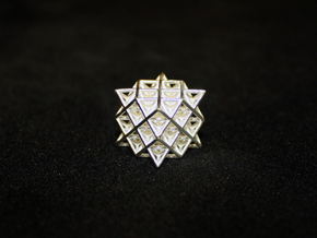 Isometric Vector Matrix - 64 Tetrahedron Grid  in Polished Silver