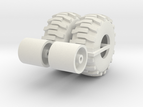 1:64 scale Back hoe Tire And Wheel Assy in White Strong & Flexible