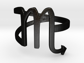 Scorpio Symbol Ring - Scorpio Sign in Matte Black Steel