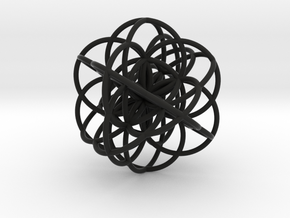 Cuboctahedral Flower of Live Circles - Sacred Geom in Black Strong & Flexible