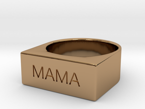 Mama Engraved Size 7 in Polished Brass