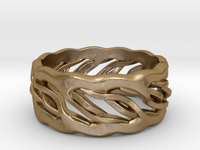 Earth Weave Ring (select a size) in Polished Gold Steel