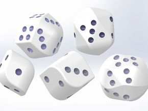 set of dice with convex faces (pips) in White Strong & Flexible Polished