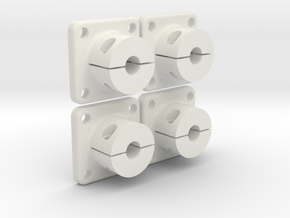 4x Shaft adapter 5mm  in White Strong & Flexible