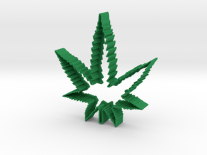 Weed Leaf Cookie Cutter in Green Strong & Flexible Polished