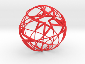 Stars & Stripes - Christmas ball in Red Strong & Flexible Polished