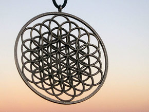 Flower Of Life Pendant - w Loopet - 6cm in Stainless Steel