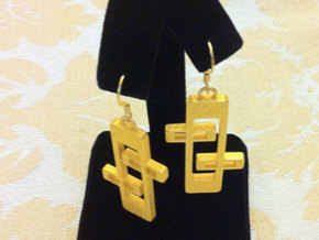"1950s ""Googie"" Inspired Earrings in Polished Gold Steel"