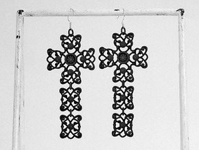 Cross pias/earring in Black Strong & Flexible