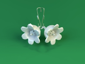 Lily Of The Valley Earrings in White Strong & Flexible Polished