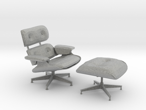 Eames Lounge and Ottoman - 6.7cm tall (1:12) in Metallic Plastic