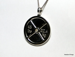 Pendant V9 - Weigth Plate with text in Polished Silver