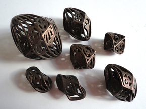 Twisty Spindle Dice Set with Decader in Polished Bronze Steel