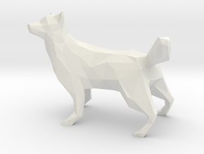 Low Poly Husky [4cm Tall] [Fully Solid] in White Strong & Flexible