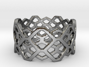 Hexagon ring - size 7.25 in Premium Silver