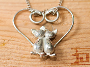 Kittens Heart in Polished Silver