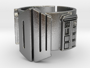 Dr Who and TARDIS Ring 01 (Size 8.75 - adjustable) in Raw Silver