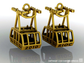 Roosevelt Island Tram Earrings  in Polished Gold Steel