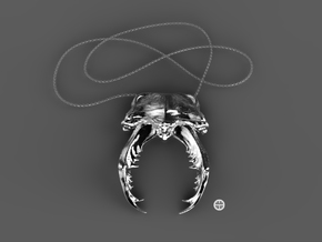 Stag Scarab in Polished Silver