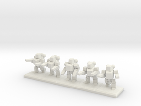 TA ARM Pewee Squad - 1cm tall in White Strong & Flexible