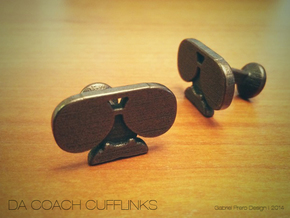 Da Coach Cufflinks - version 1 in Polished Bronze Steel