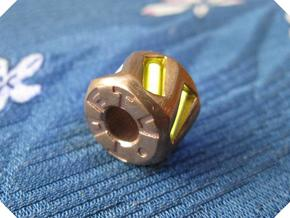 Twisted Hex Bead 1: Tritium (Pandora Thread) in Raw Bronze