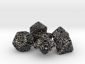 Ring Dice Set With Decader in Polished Nickel Steel