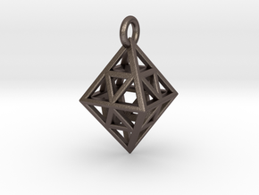 Diamond (Octahedron) Wire Pendant VI-08-0003-1001 in Stainless Steel