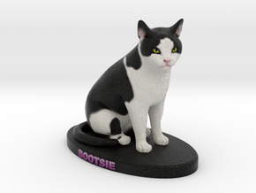 Custom Cat Figurine - Bootsie in Full Color Sandstone