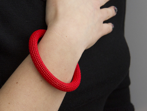 Medium Size - Textile Bracelet Circular in Red Strong & Flexible Polished