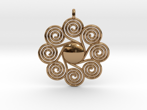 SPIRAL SUN Designer Jewelry Pendant in Polished Brass