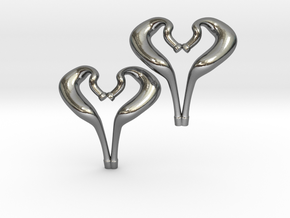 I love 2-Strokes Motorcycle Pipe Heart Earrings in Polished Silver