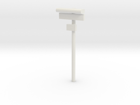 1/160 - DSB Stations lampe med skilt og lille unde in White Strong & Flexible