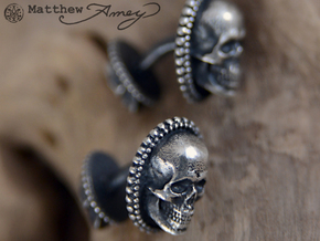 Skull cuff link - 25mm in Raw Silver