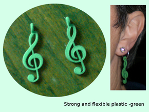 TrebleClefExtraSmall in Green Strong & Flexible Polished