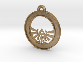 Tri-force Circle-pendant in Polished Gold Steel