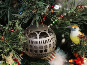 Library of Congress Christmas Ornament in Polished Nickel Steel