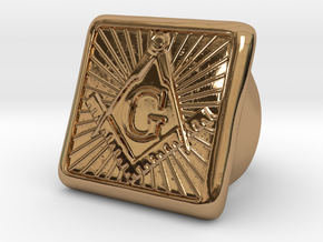 Freemason Ring - Size US 9 in Polished Brass