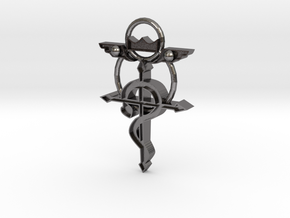 Flamel Cross in Polished Nickel Steel