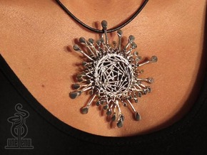 Spinnoloids Firework Pendant by unellenu 7cm in Polished Silver