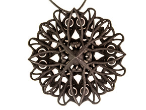 Mandala Pendant  in Black Strong & Flexible