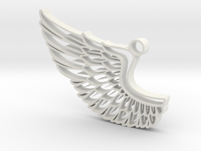 Angel Wing Pendant in White Strong & Flexible