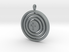 Orrery cross pendant in Polished Metallic Plastic