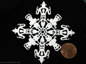 Robot Snowflake in White Strong & Flexible Polished