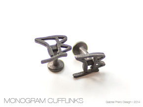 Custom Monogram Cufflinks - TB in Polished Grey Steel