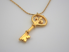 Kappa Key Pendant in Polished Gold Steel