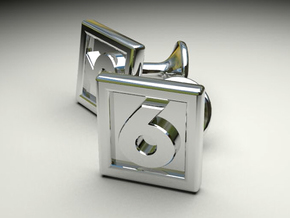6 Cufflinks in Polished Silver