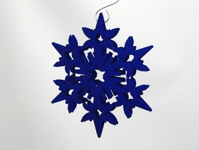 Wings Snowflake - 3D in Blue Strong & Flexible Polished